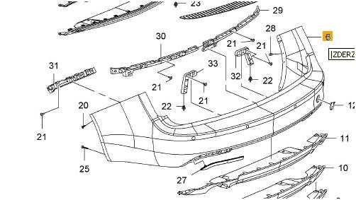 zderzak tylny insignia kombi od 2011 - 20972989